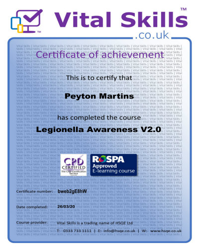 Local Legionella Risk Assessment